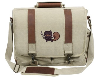 Ninja Squirrel Embroidered Canvas with Leather Accents Premium Laptop Bag