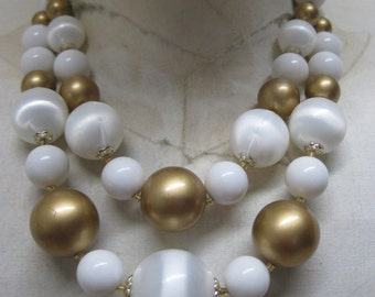 White Gold Bead Two Strand Necklace Vintage Japan