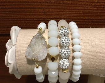 White and gold gemstone bracelet set