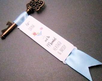 Key Bottle Opener - Eat Drink & be Married Wedding Favor - Set of 10 - Skeleton Key - Personalized - Custom - Vintage inspired