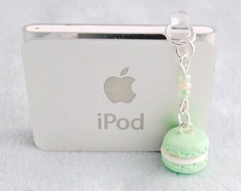 Green Macaron Dust Plug Charm, Phone Charm, For iPhone or iPod, Kitsch Tiny Green Tea Macaroon, Cute And Kawaii :D