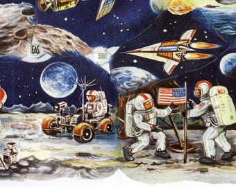 Genuine RARE Vintage Astronauts (Space Kids) - Chromolithograph Embossed Die-Cut Reliefs - NOS - Old Stock - a 16.00+ Value