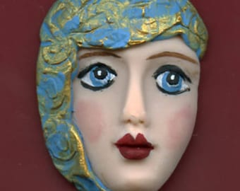SALE !  Polymer Clay One of a Kind   Detailed Face Cab with texture Un Drilled NFH 1