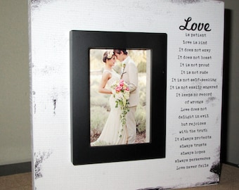 Love is Patient love is kind picture frame Wedding Gift Wedding Picture Frame Couples Gift Wedding Sign