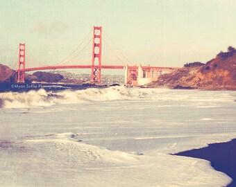 large wall art, San Francisco Golden Gate Bridge photography, romantic California home decor cherry red, beach photo 36x36 print