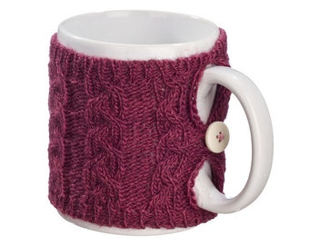 Mug Sweater, Cup Cozy, Reusable Coffee Sleeve Hand Protector, Drink Grip, Purple Plum Red