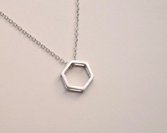 hexagon necklace silver necklace geometry necklace