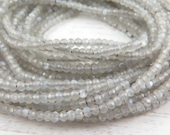 """AAA Grey Moonstone Micro-Faceted Rondelles 2mm ~ 13"""" Strand"""
