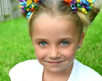 Polka Dot Korker Hair Bow  -  Purple Polka Dot - Blue Polka Dot - Green Polka Dot - Yellow Polka Dot - Orange Polka Dot - Rainbow Hair Bow
