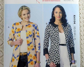 Kwik Sew 4104, Misses' Jacket Sewing Pattern, Lined Jacket Pattern, Misses' Pattern, Misses' Size XS, S, M, L, Xl, Uncut