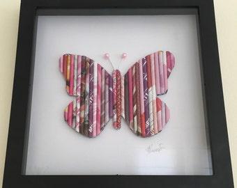Schmetterlings-Wand-Kunst, Schmetterling-Liebhaber, Kinderzimmer Dekoration Shadowbox, Kindergeburtstag, Leinwände, Baby-Mädchen-Geschenk, farbenfrohe Kunst, Wand-Dekor