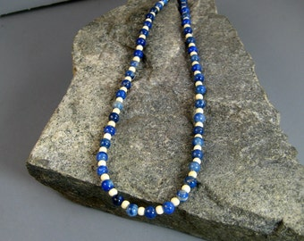 Mens blue and white beaded necklace, denim lapis laszuli beaded necklace, gemstone and bone beaded necklace, native american necklace