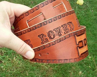 LONG Expressive Leather Guitar Strap, 53-63 inches,  Personalized with a Phrase and a Name or Initials, Custom Lettering, Handcrafted