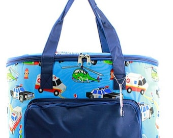 N Gil Insulated Cooler shoulder bag with automobile pattern.