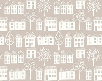 """By The HALF YARD - Town and Country by Lewis and Irene, Patt. #A014.3  Street Natural Patchwork, Creamy White Houses and 1.5"""" Trees on Grey"""