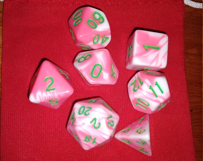 Strawberry Mint - 7 Die Polyhedral Set with Pouch