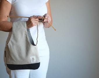 Yarn Bag, Knitting Bag, Knitter's gift, Linen Wristlet