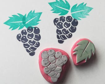 Grapes rubber Stamp, grapes stamp, garden stamp, grape cluster stamp, wine grape stamp, fruit stamp, rubber stamp, cardmaking, rubber stamps
