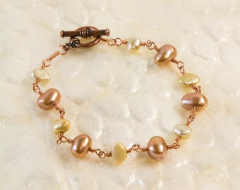Two tone pearl and copper bracelet