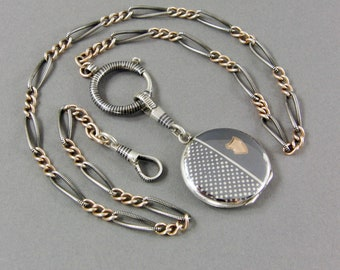 Antique Niello Necklace w Niello Locket, Watch Chain, Edwardian, 800 Silver, Secret Compartment, Rose Gold Gilt, Boho, Gift for Her