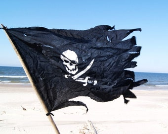 SALE -10% Pirate Flag Nautical Art,Jolly Roger, Battle-Worn, hand painted, black cotton, skull and sabers. Gift for sailor!