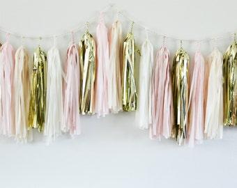 PINK CHAMPAGNE tissue tassel garland party decoration