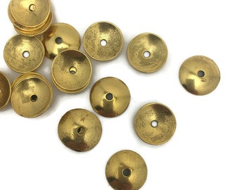 20 antique gold  bead caps with smooth domed surface 13 mm