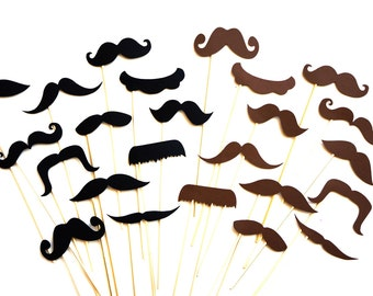 Photo Booth Props - Mustaches on a stick - 24 piece prop set - Brown and Black Mustaches - Photobooth Props