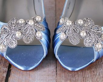 Blue Wedding Shoes, Cornflower Blue Shoes, Something Blue, Pearl Wedding Accessories, Crystal Wedding Shoes, Peep Toes, Kitten Heels