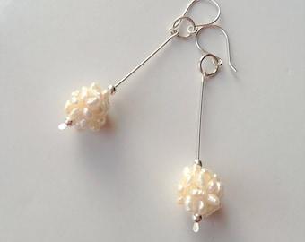Sterling Silver Dangle Earrings, Freswater Pearls Drop Earrings, Long Silver Dangle Earrings, Timeless Silver Earrings, Silver Ball Earrings