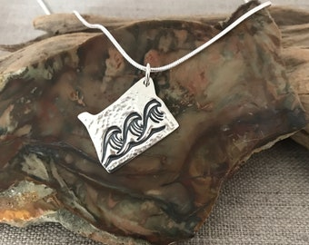 Oregon Waves Silver Pendant