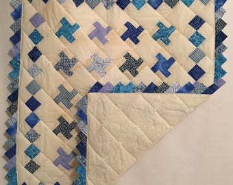 "35 1/2"" x 41 1/2"" Shades of Blue Handmade Baby Quilt"