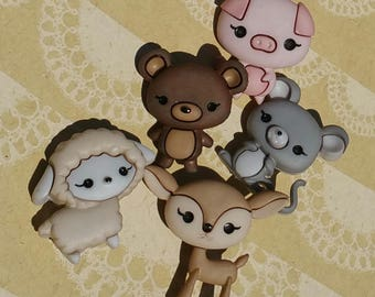 """Animal Cuties Buttons - Cute Stylized Shank Sewing Button - From 1 1/8"""" Tall - 5 Buttons"""