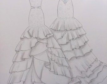 Custom wedding dress sketch front and back, wedding dress hand drawing, one year paper anniversary, dramatic back wedding dress, say yes