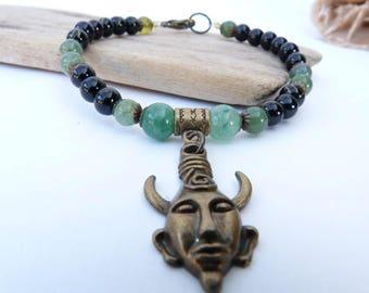 Unisex bracelet, zen and ethnic style green jade and charm.