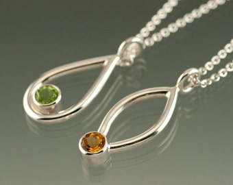 One Sterling Silver Pendant with an 5mm Gemstone of your choice: Amethyst, Peridot, White Topaz, Citrine, Blue Topaz, or Garnet. Medium Size
