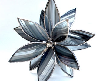 Black and Gray 3D Stained Glass Flower Suncatcher -Best Seller - In Full Bloom