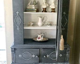 Antique Hutch , Display Cabinet , China Cabinet .