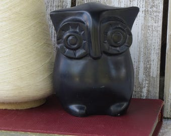 Vintage African Black Soapstone Owl Sculpture - Tribal African Carved Soapstone - African Art