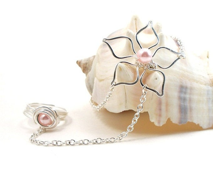Slave Bracelet with Ring Attached Silver Flower with Pink Pearls