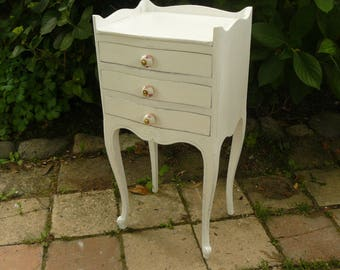 Antique white bedside and taupe, 3 drawers