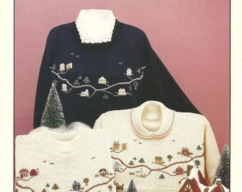 Craftsman Studios Create an Old Town Duplicate Stitch- Needlework for Knits-Cross Stitch Patterns 1993