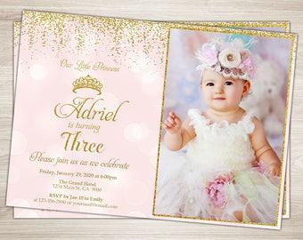 Princess Birthday Invitation. Princess Invitation. Pink Gold Princess Third Birthday Invitation. Princess 3rd Birthday Party Invite. Crown