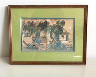 Lovely Japanese Print Art, Green,Blue