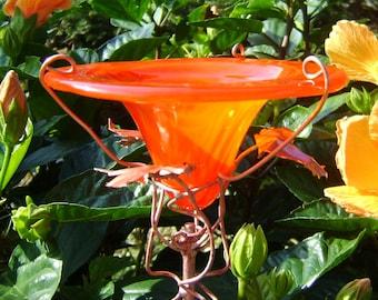 RETIREMENT Garden Gift, BUTTERFLY FEEDER, Red Orange, stained glass, Garden Art, Outdoors, Copper Art