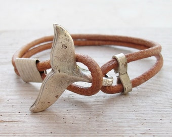 Whale Tail Bracelet - Nautical Bracelet Beach Jewelry Leather and Metal