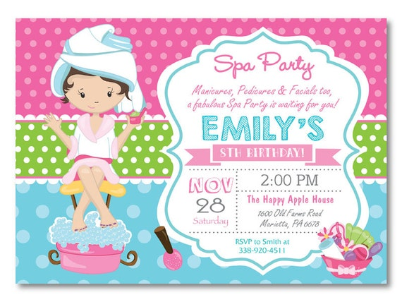 Spa party invitation spa birthday party invitation pajama spa party invitation spa birthday party invitation pajama party pampering spa party girl birthday pink and aqua printable digital filmwisefo Gallery