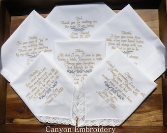 Embroidered Wedding Handkerchiefs, Embroidered, Wedding Gifts, Set of Six 6 Embroidered Handkerchiefs, Wedding, Parents, Canyon Embroidery