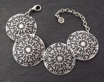 Rustic Mandala Disc Tribal Ethnic Silver Statement Bracelet - Authentic Turkish Style