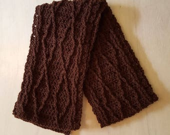 Handmade Crochet Scarf, Cable Scarf Brown